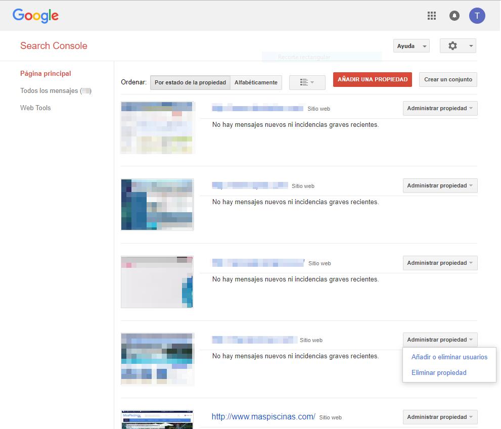 Página principal de Search Console