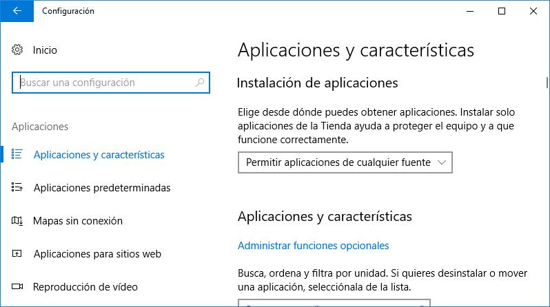 Aplicaciones y características de Windows 10