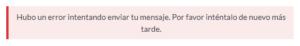 Hubo un error intentando enviar tu mensaje en Contact Form 7